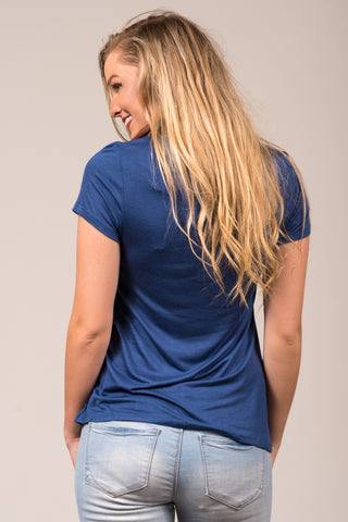 Kellie Pocket Tee (Crew Neck) in Washed Indigo