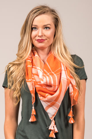 Game Day Scarf in Orange & White