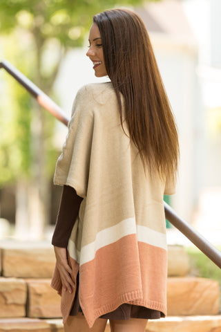 Winter Sunset Poncho in Camel