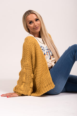 Cozy Knit Cardigan in Mustard