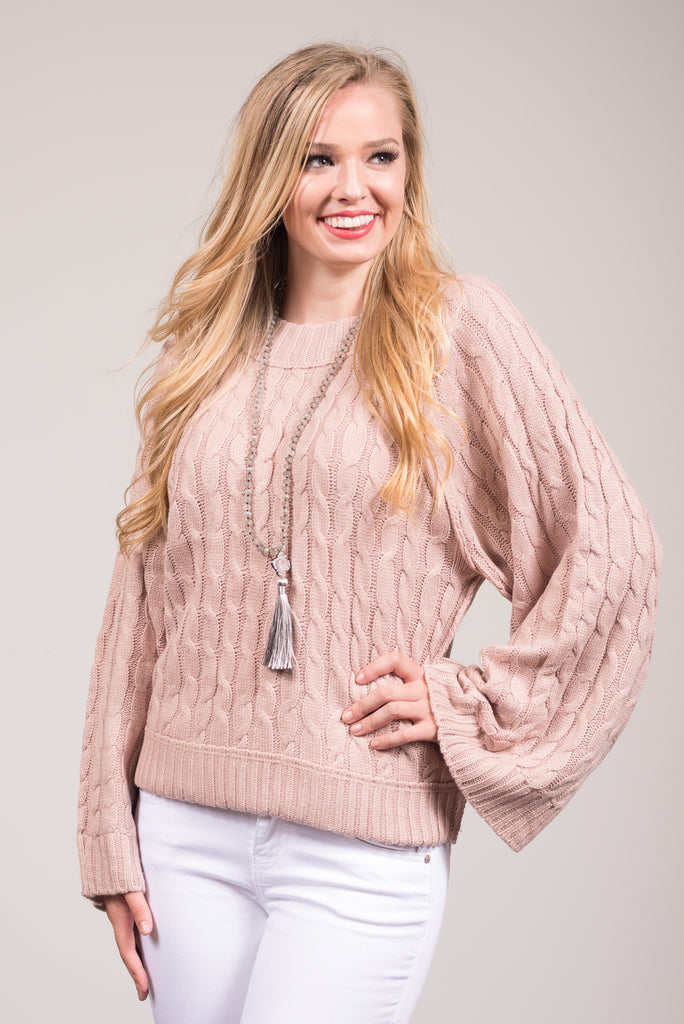 Soho Flair Sweater in Dusty Pink