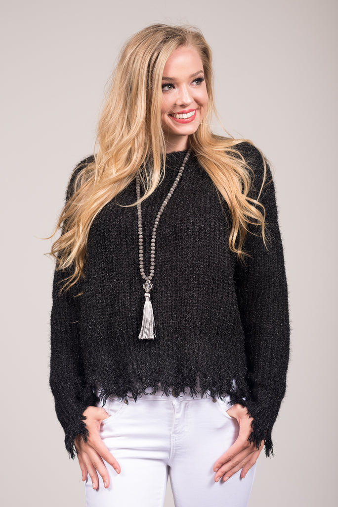On the Edge Sweater in Black