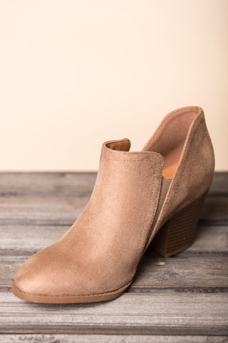 One Step Closer Booties in Taupe