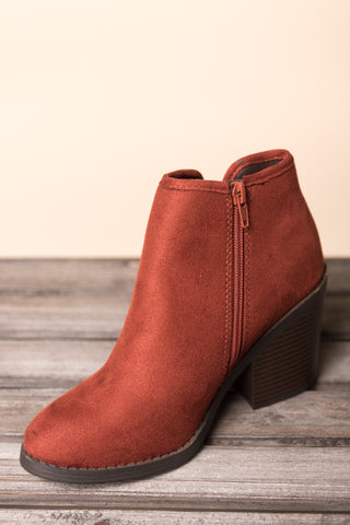 Moving Forward Booties in Dark Rust