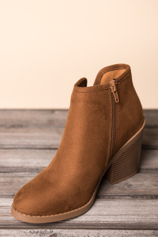 Moving Forward Booties in Chestnut