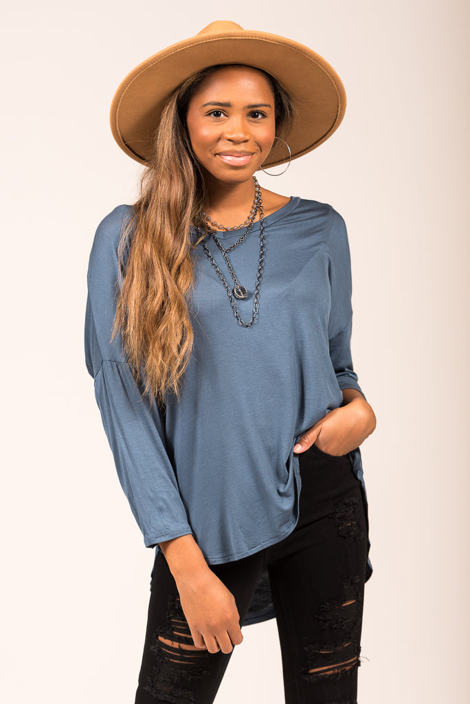 One and Only Top in Teal Denim