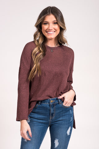 All Nighter Top in Red Brown