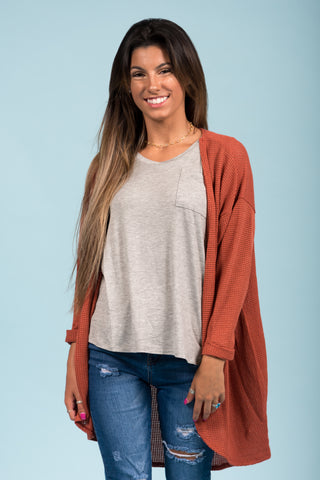 She's One of A Kind Cardigan in Rust