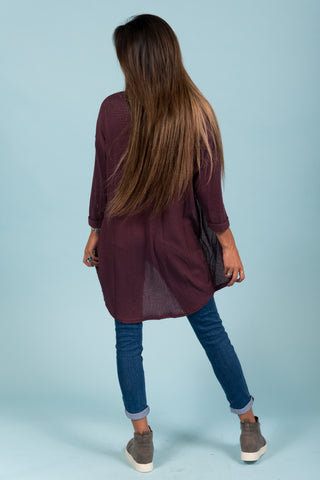 She's One of A Kind Cardigan in Plum