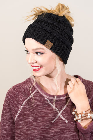 Messy Bun Beanie in Black