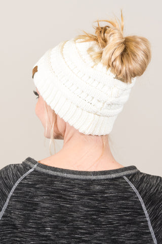 Messy Bun Beanie in Ivory