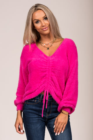 Center of Attention Sweater in Fuchsia