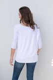 Piko Perfect 3/4 Sleeve Top in White