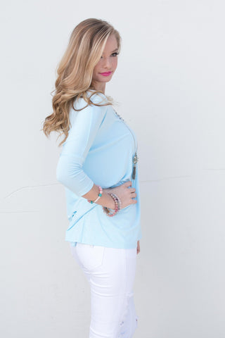 Piko Perfect 3/4 Sleeve Top in Light Blue