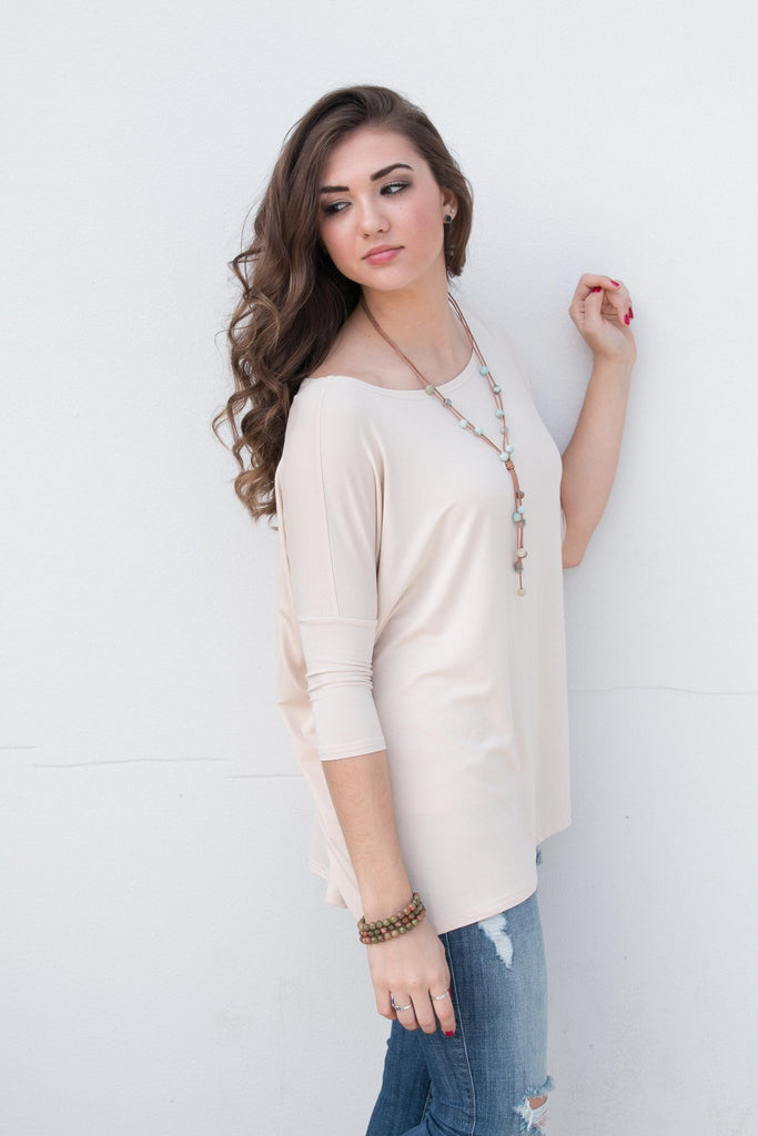 Piko Perfect 3/4 Sleeve Top in Sand