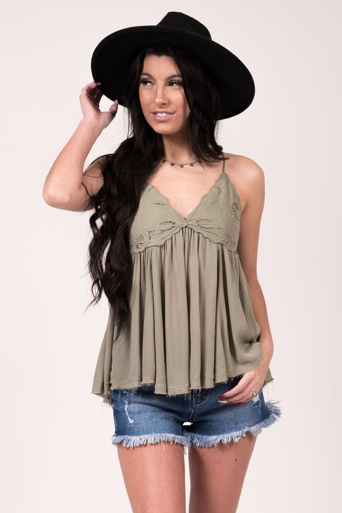 Bel Air Babydoll Tank in Seagrass