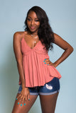 Bel Air Babydoll Tank in Deep Coral