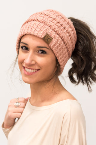 Messy Bun Beanie in Mauve