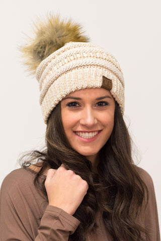 Glitter Fur Pom Beanie in Cream/Gold