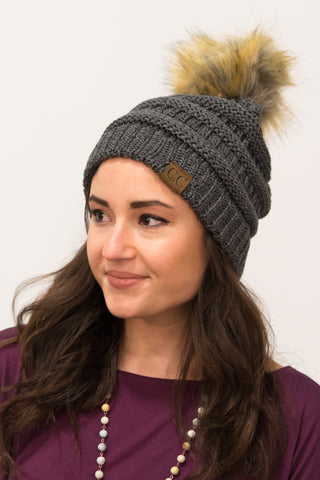 Glitter Fur Pom Beanie in Charcoal/Steel