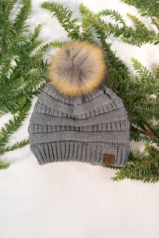 Fur Pom Beanie in Grey