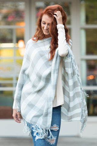 Tartan Trail Poncho in Blue