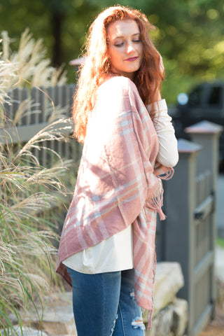 Tartan Trail Poncho in Rose