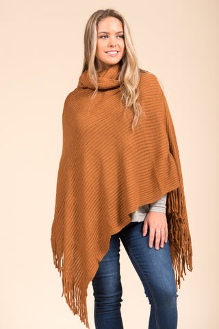 Autumn in the Park Poncho in Rust