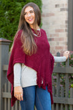 Harvest Gathering Poncho in Burgundy