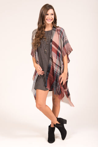 Plaid You Came Kimono in Rust