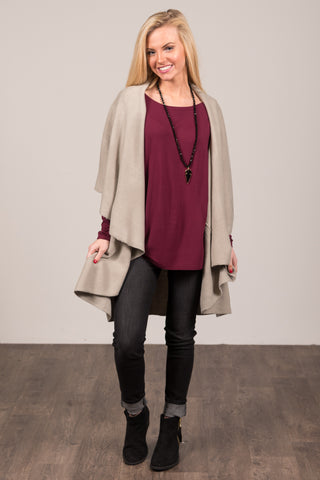 Charlotte Cardigan in Stone Grey