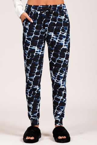 Invisible String Joggers in Blue Marble