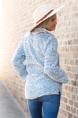 Wonderland Sherpa Pullover in Slate Blue