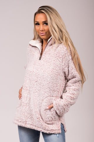 Wonderland Sherpa Pullover in Mauve