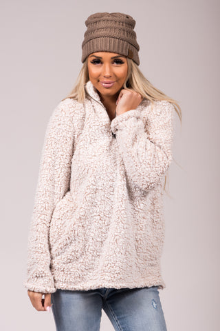 Wonderland Sherpa Pullover in Oatmeal