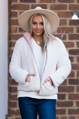 Double Take Jacket in Blush