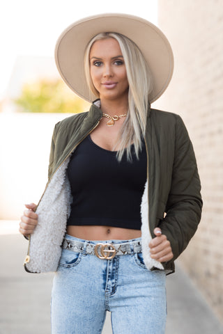 Double Take Jacket in Olive