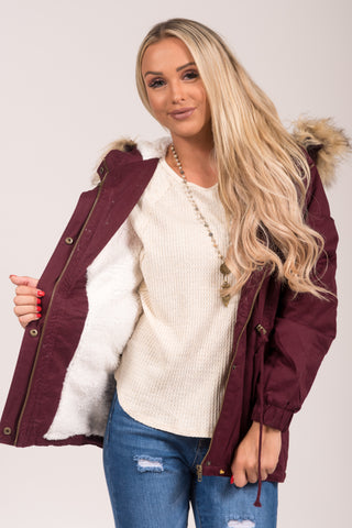 Frosty Forest Jacket in Wine