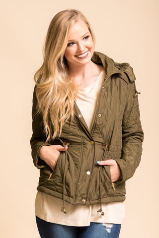 Coming to Town Jacket in Olive