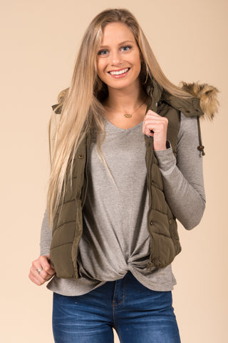 Hold Me Tight Vest in Olive