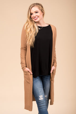 Winter Breeze Cardigan in Camel
