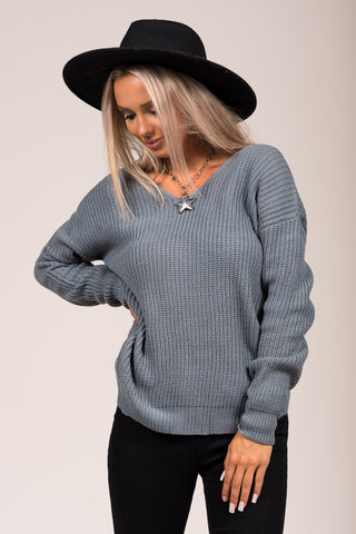All Is Found Sweater in Slate Blue