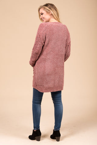 Winter Weather Cardigan in Mauve