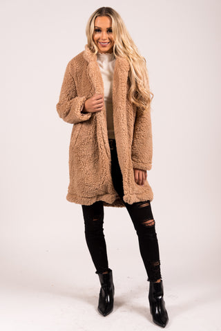 Sleep Walking Teddy Coat in Camel