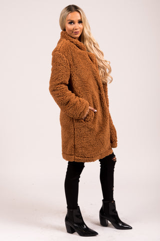 Sleep Walking Teddy Coat in Cinnamon