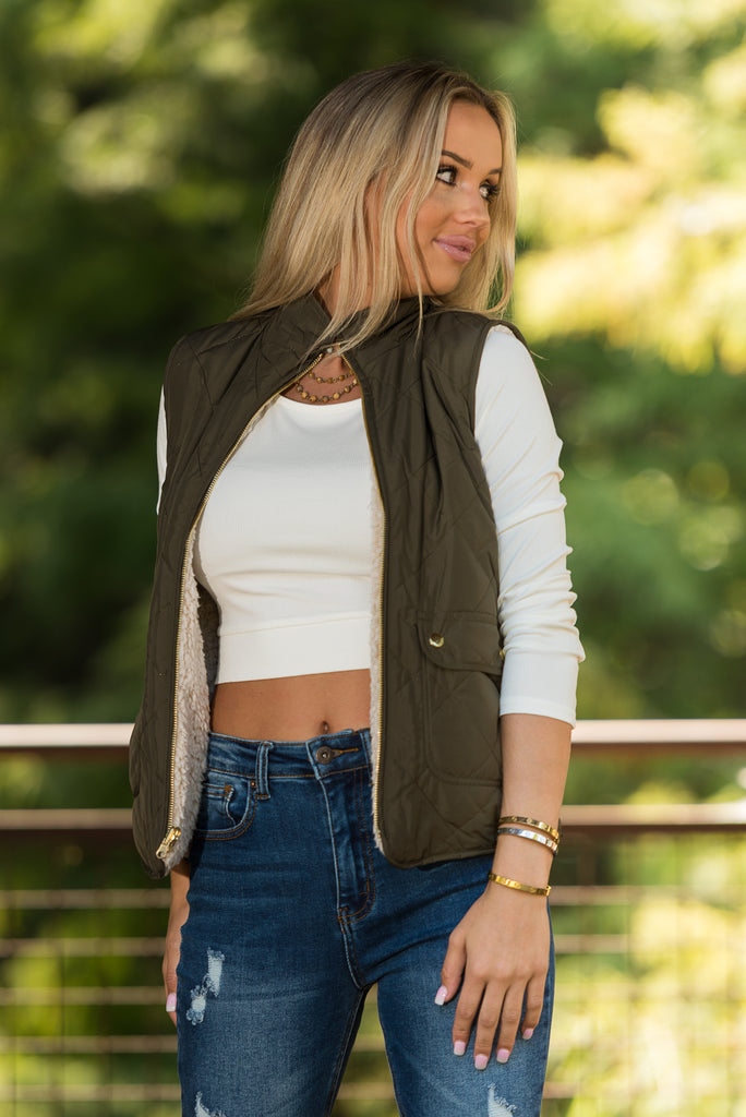 Perfect Illusion Vest in Olive