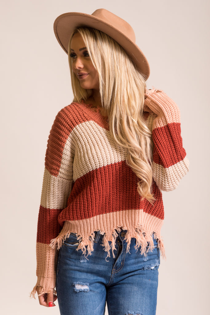 Take The Chance Sweater in Rust