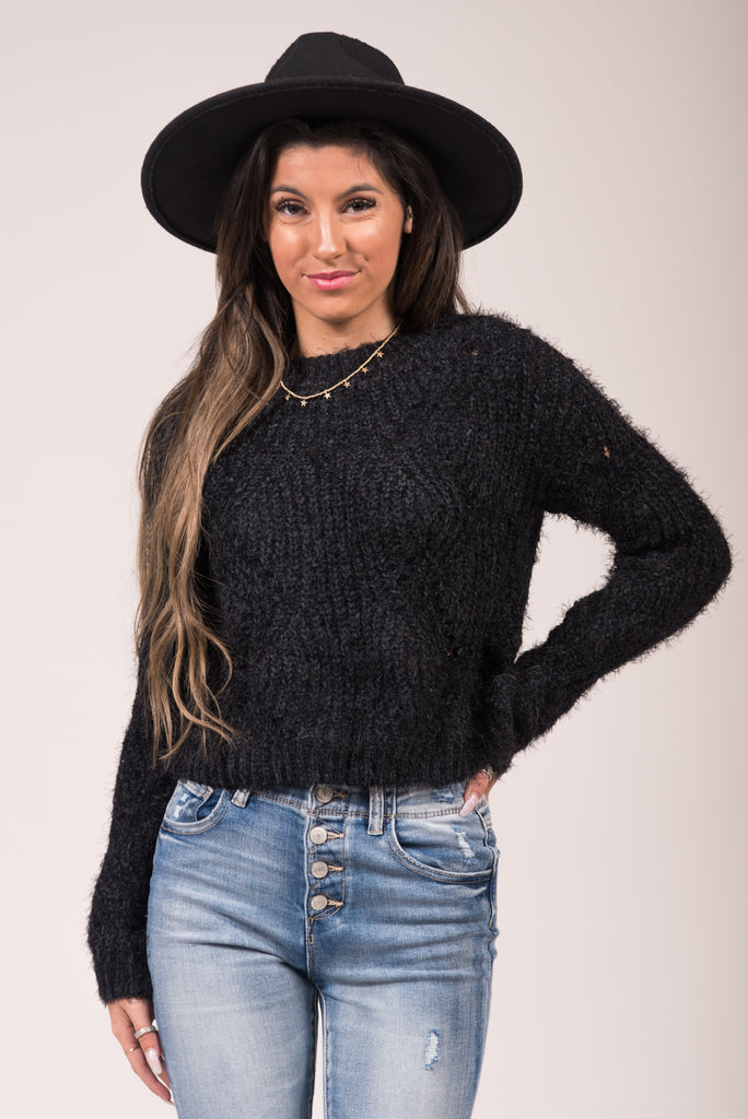 Hey Girl Hey Sweater in Black