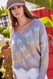 Wherever I Go Sweater in Taupe/Purple