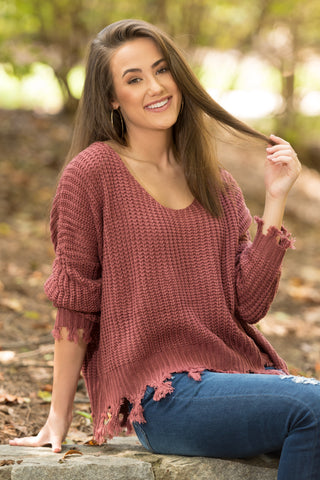 Mountain Point Sweater in Marsala